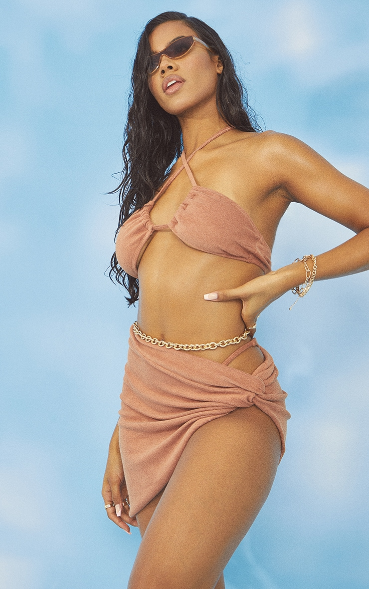Brown Towel Frill Edge Twist Front Beach Skirt 1