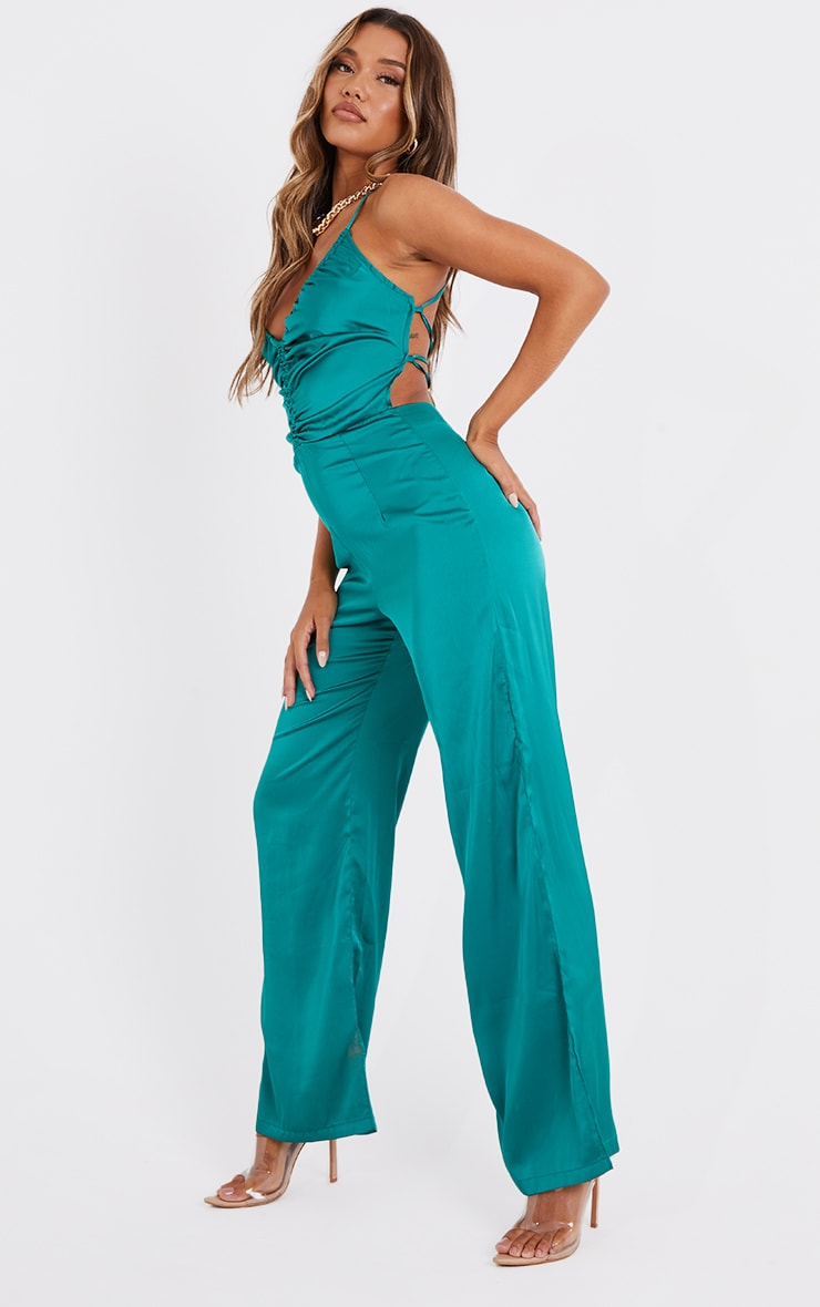 Emerald Green Ruched Centre Strappy Satin Jumpsuit 3