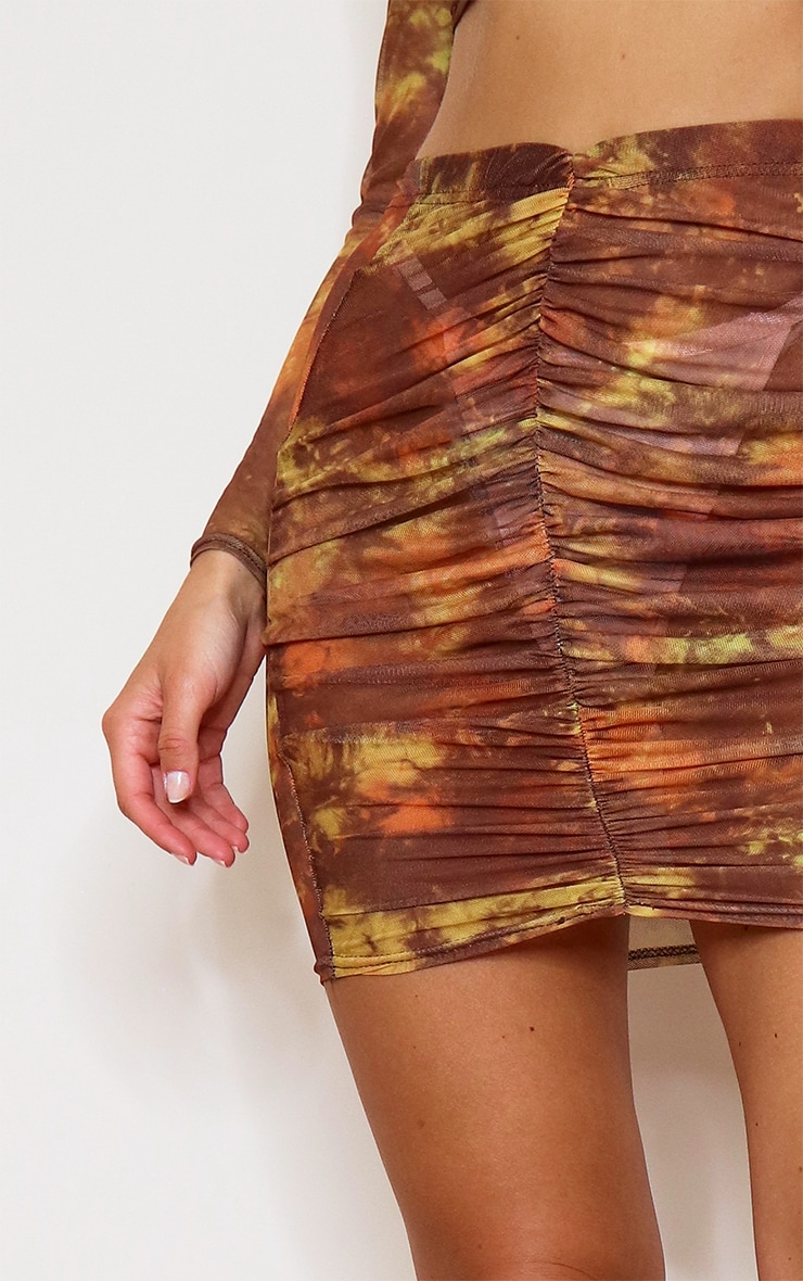 Brown Tie Dye Print Mesh Ruched Front Mini Skirt 5