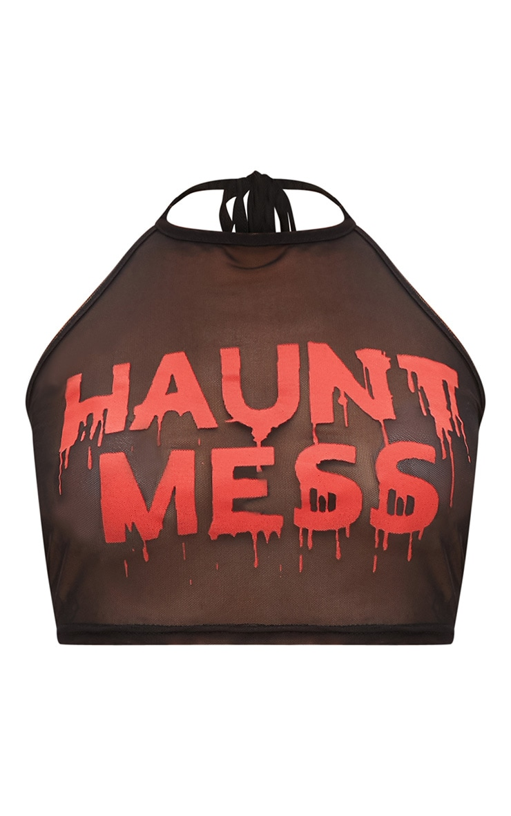 Haunt Mess Slogan Black Mesh Crop Top 3