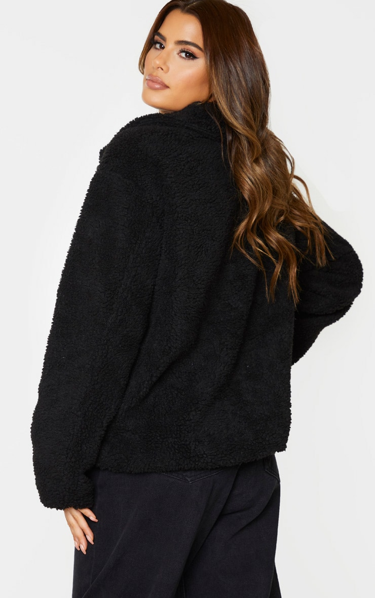 Tall Black Borg Zip Up Oversized Jacket 3