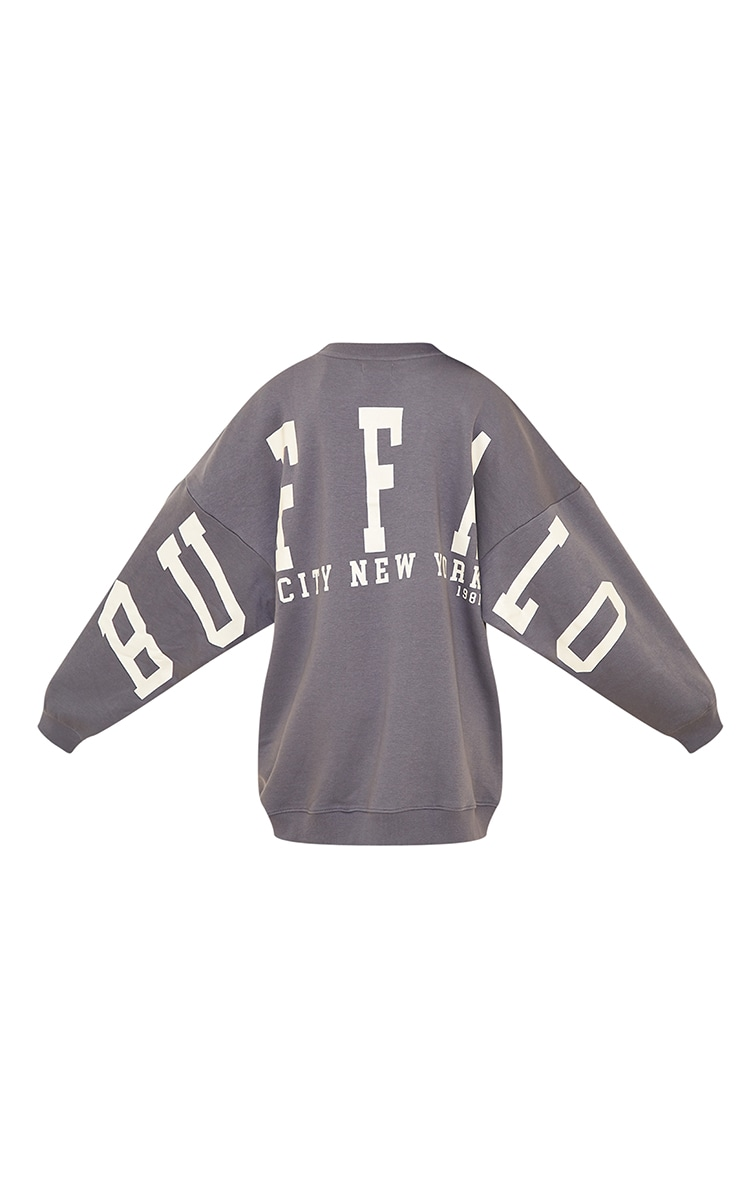 Robe sweat gris anthracite à slogan Buffalo New York 5