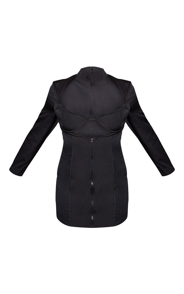 Black High Neck Cut Out Zip Front Dress 3