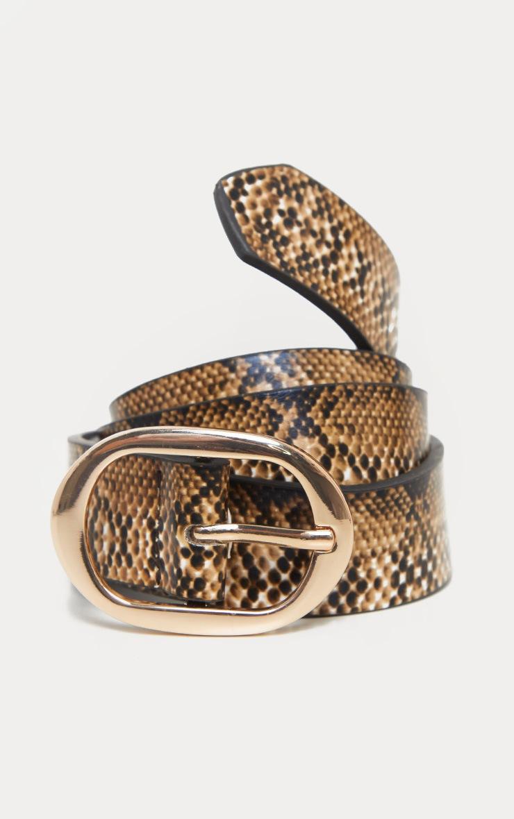 Natural Snake Oval Buckle Belt 5