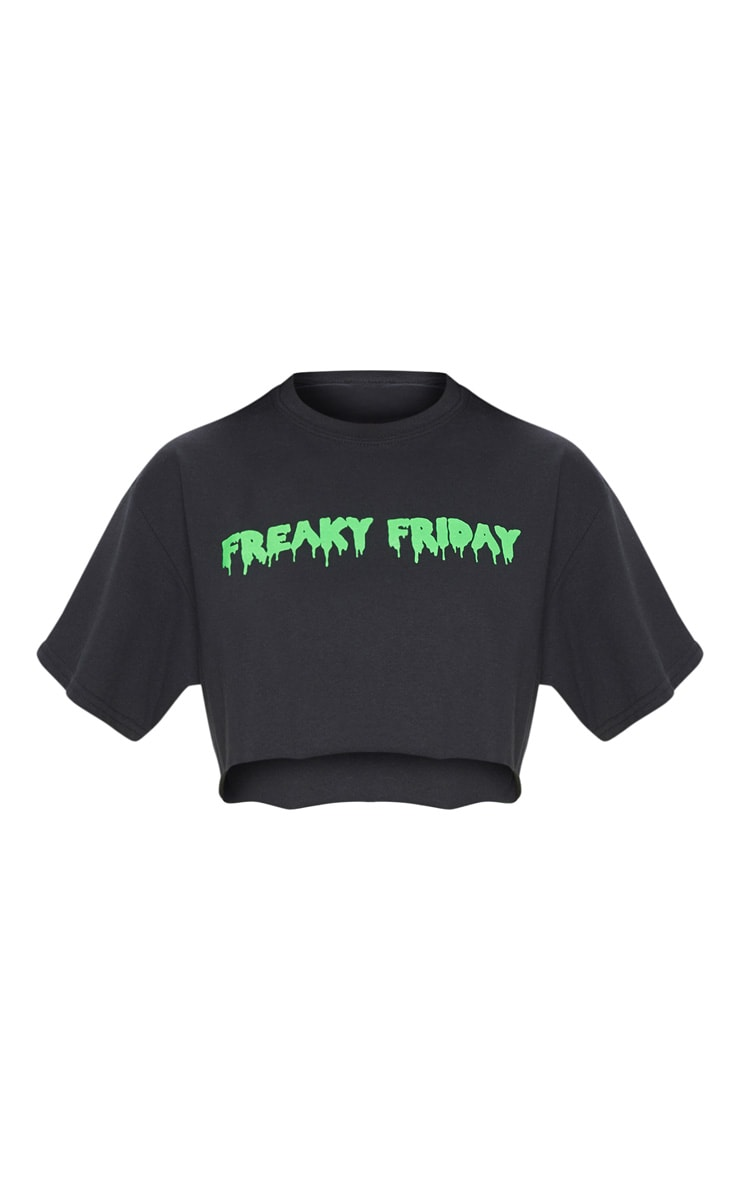 Black Freaky Friday Printed Oversized T shirt 3