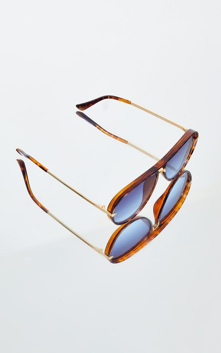 Tortoise Frame With Blue Lens Aviator Sunglasses 3