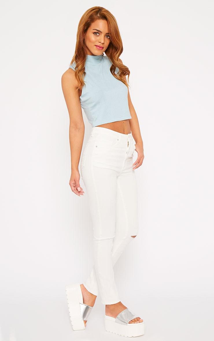 Ariana White Ripped Skinny Jean 4