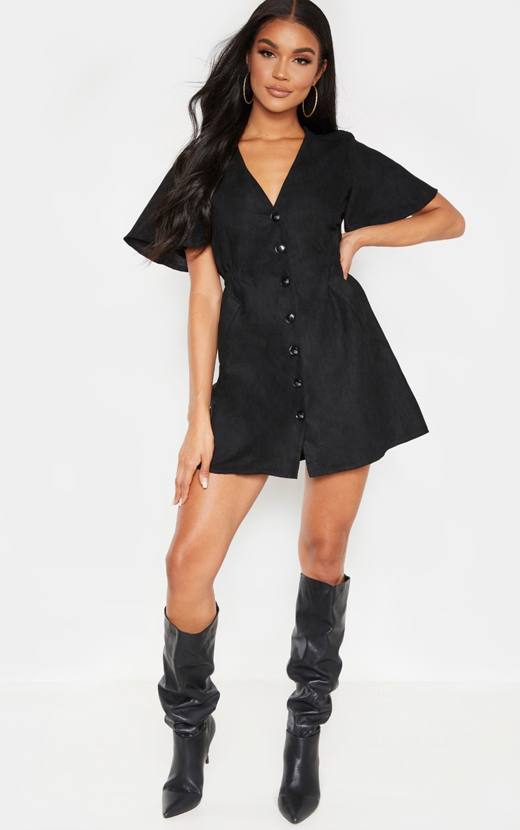 Black Faux Suede Button Front Shirred Side Shift Dress 1