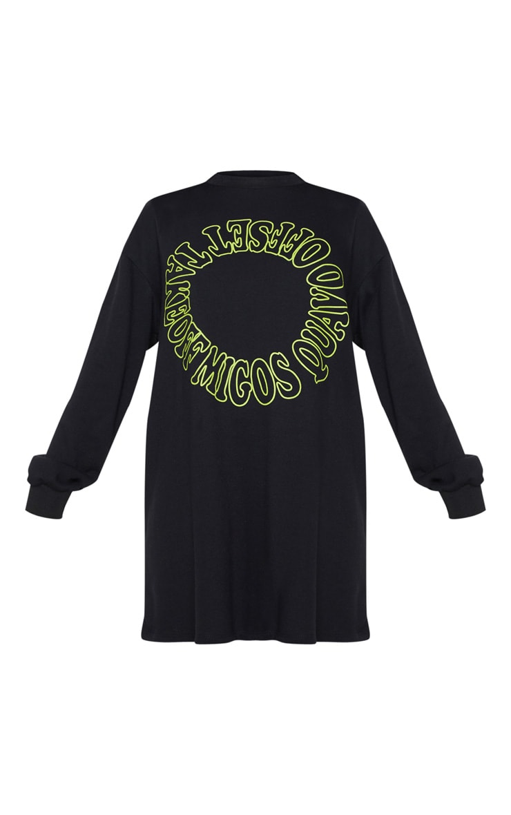 Migos Black Slogan Oversized Jumper Dress 3