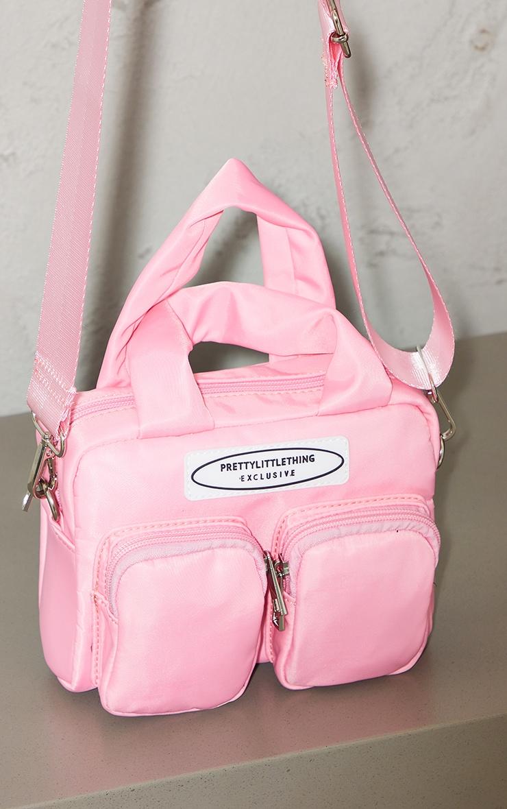 PRETTYLITTLETHING Pink Nylon Double Front Pocket Cross Body Bag 3