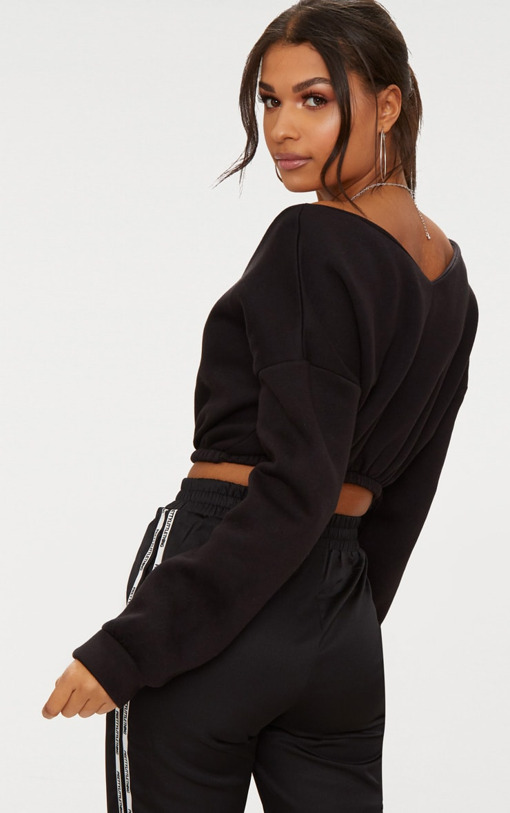 Black Crop Off Shoulder Sweater  2