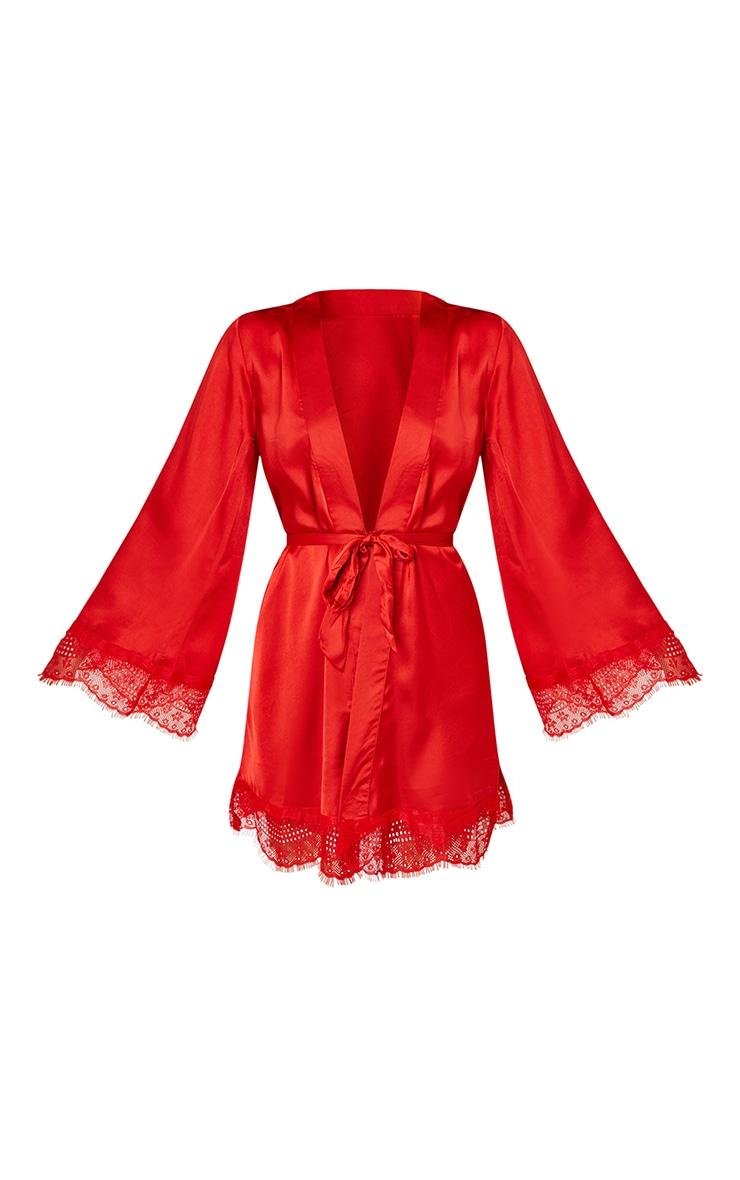 Red Premium Lace Trim Satin Robe 5