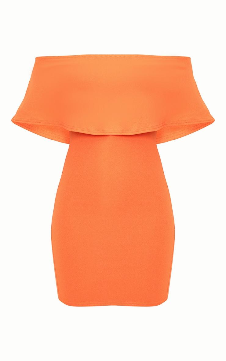 Bright Orange Bardot Frill Bodycon Dress  3