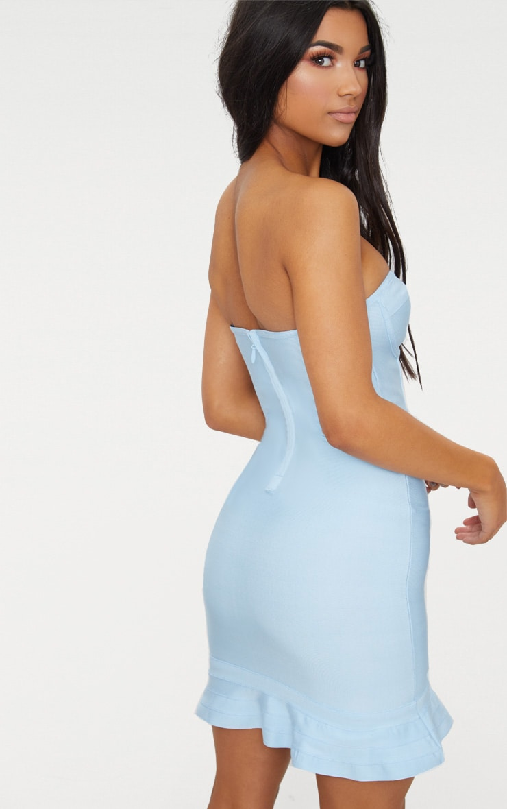 Dusty Blue Bandage Frill Hem Bodycon Dress 2