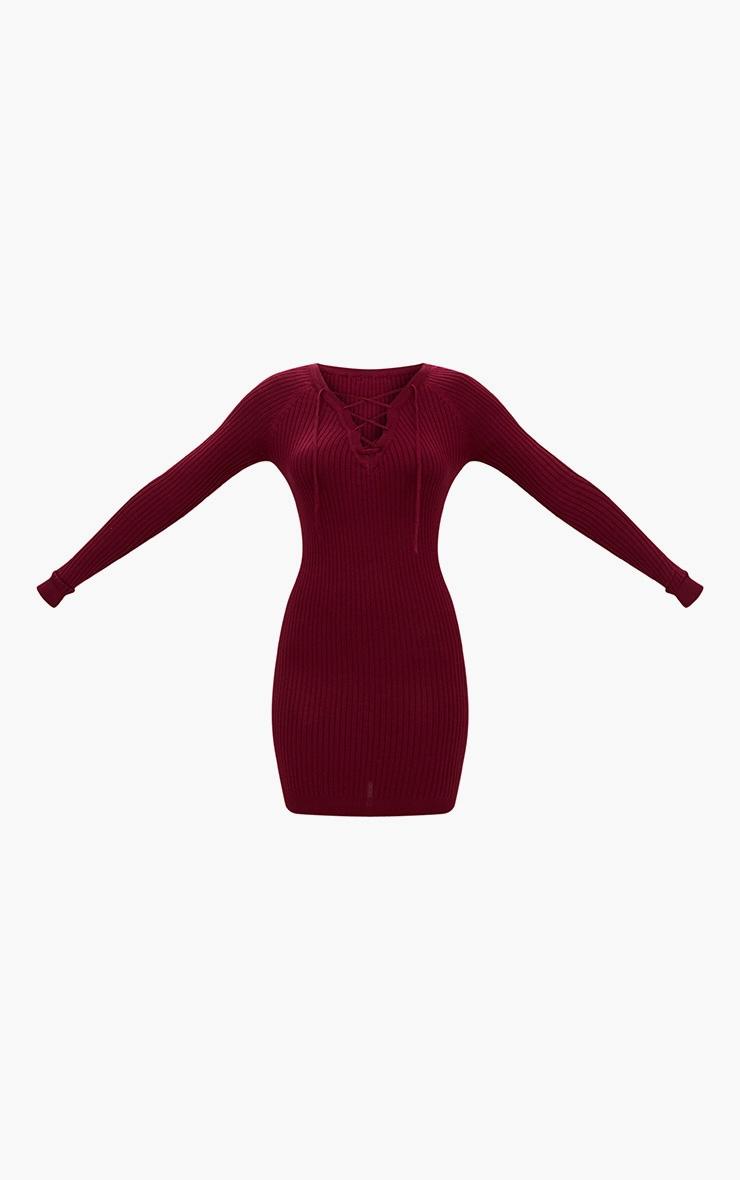 Burgundy Rib Lace Up Dress 3