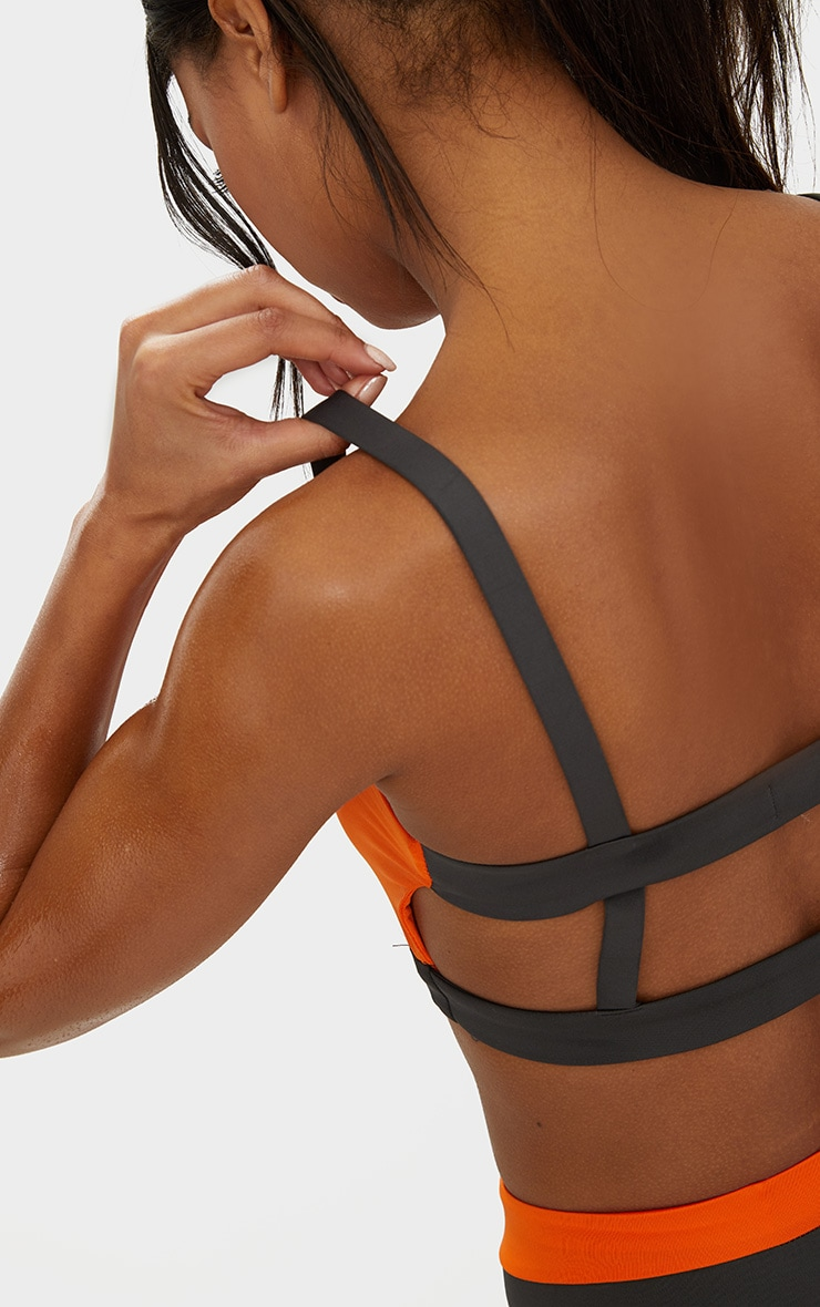 Orange Caged Back Contrast Sports Bra 4
