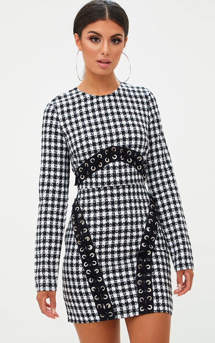 Black Checked Lace Detail Bodycon Dress 1