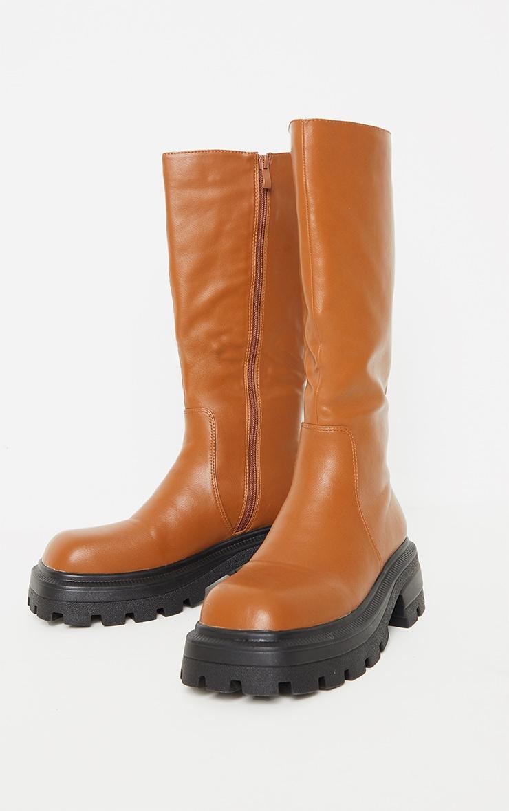 Tan PU Square Toe Knee Boots 3