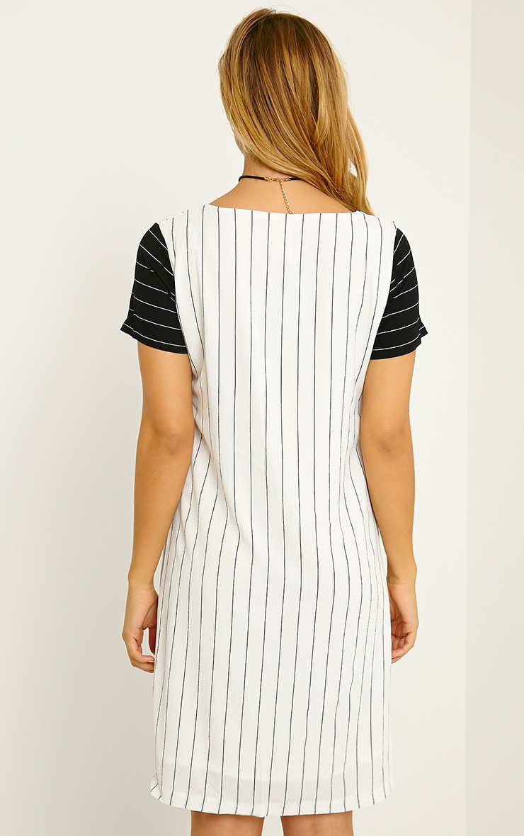Amberly White Pinstripe Shift Dress 2