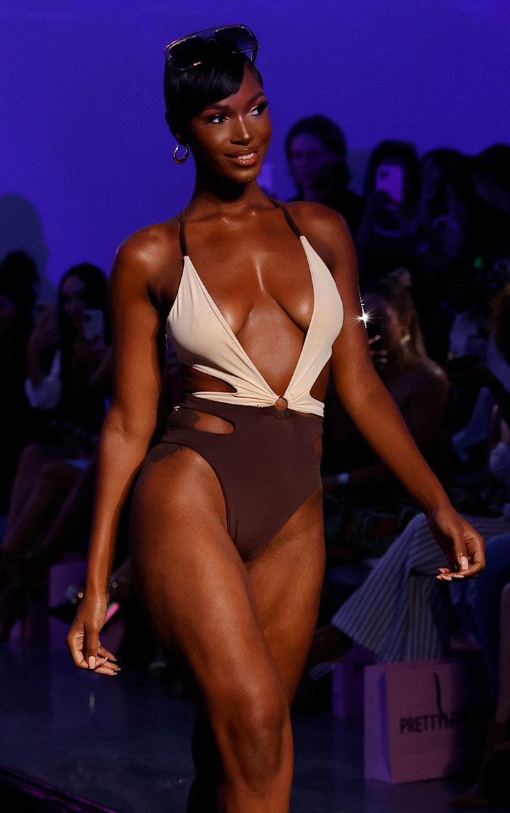 Chocolate Contrast Cut Out Swimsuit 1