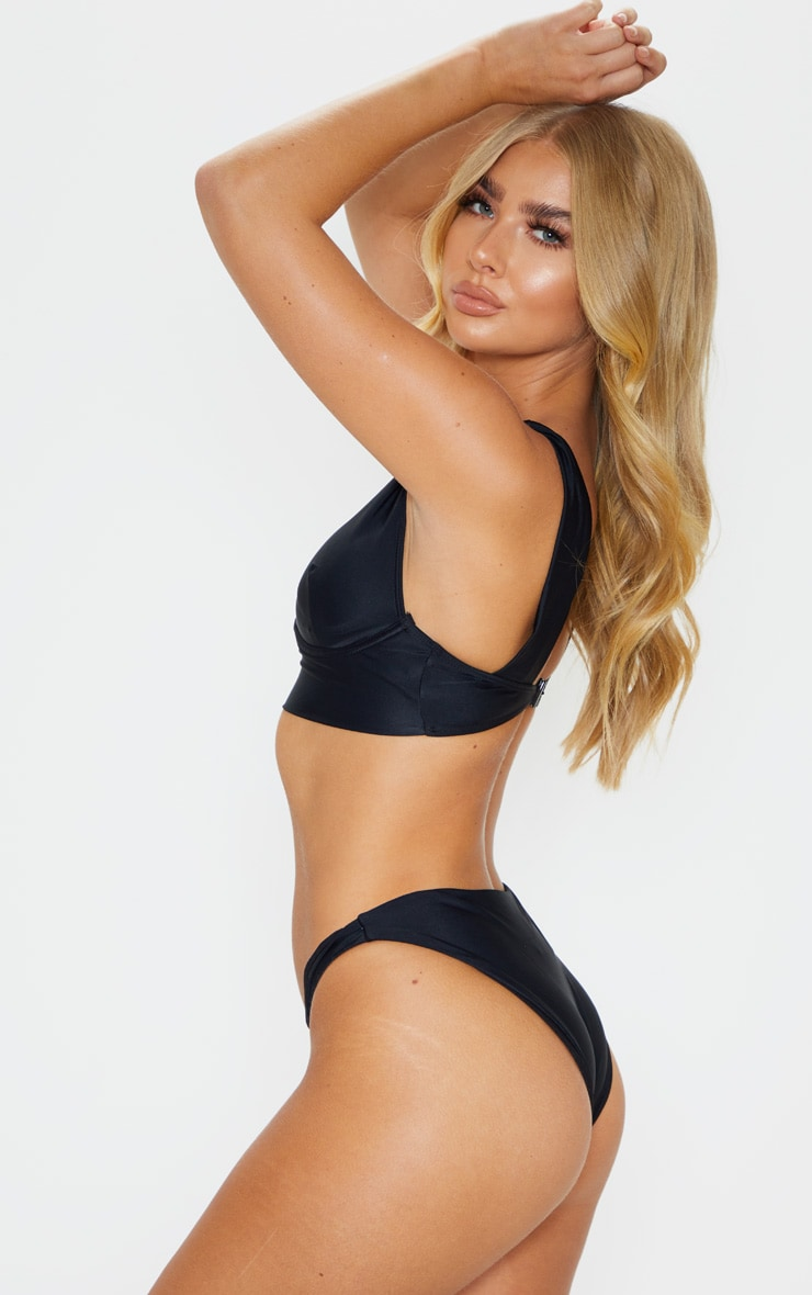 Black V Front High Bikini Bottom 2