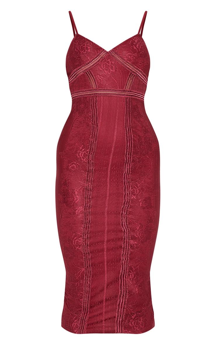 Burgundy Lace Mesh Stripe Insert Midi Dress 3
