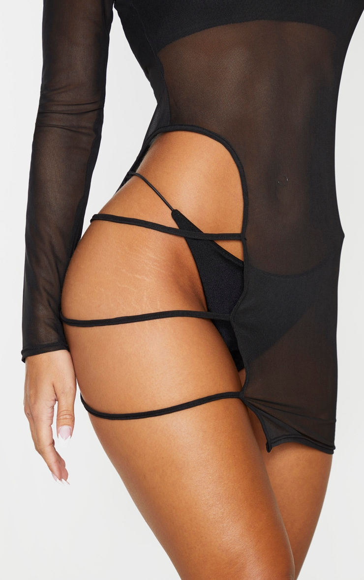 Black Cut Out Thigh Mesh Beach Dress 4