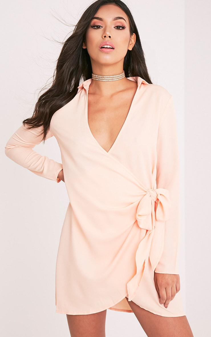 Shaylene Nude Tie Side Satin Shirt Dress 1