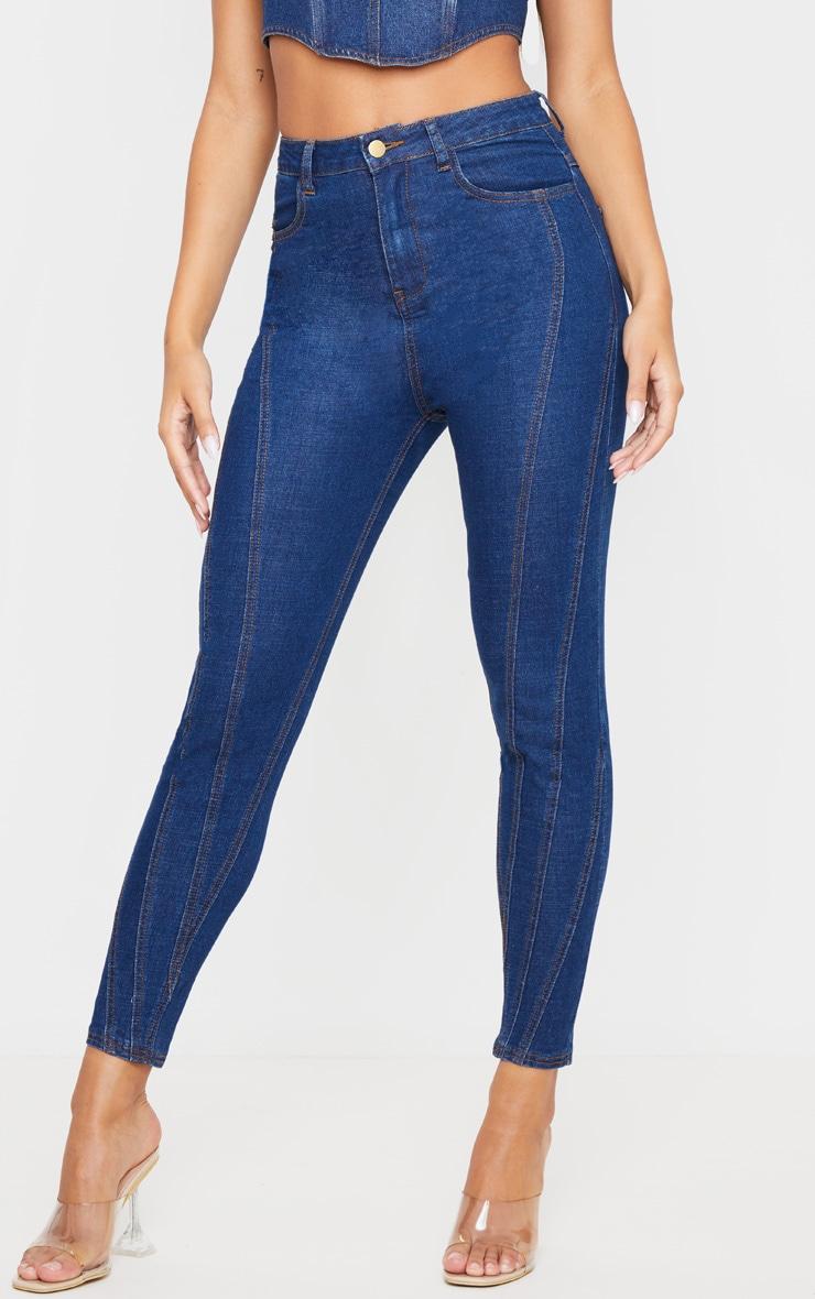 Mid Wash Seam Detail Skinny Jeans 2