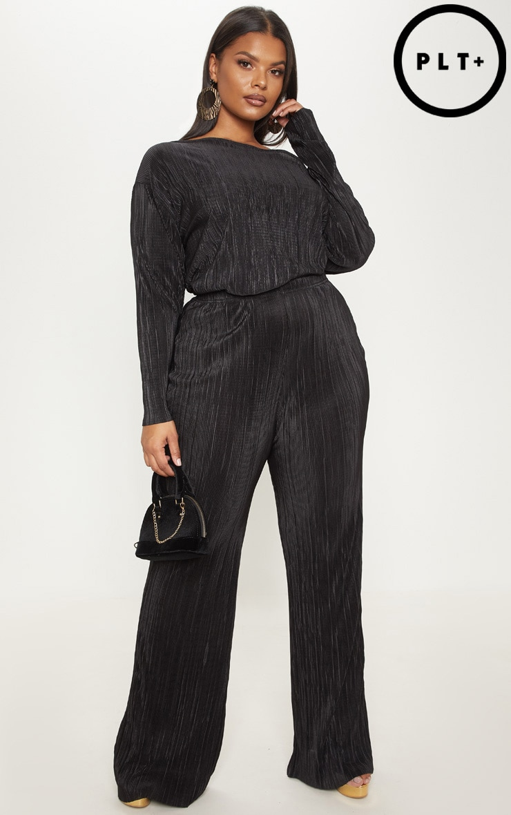 Plus Black Plisse Wide Leg Pants