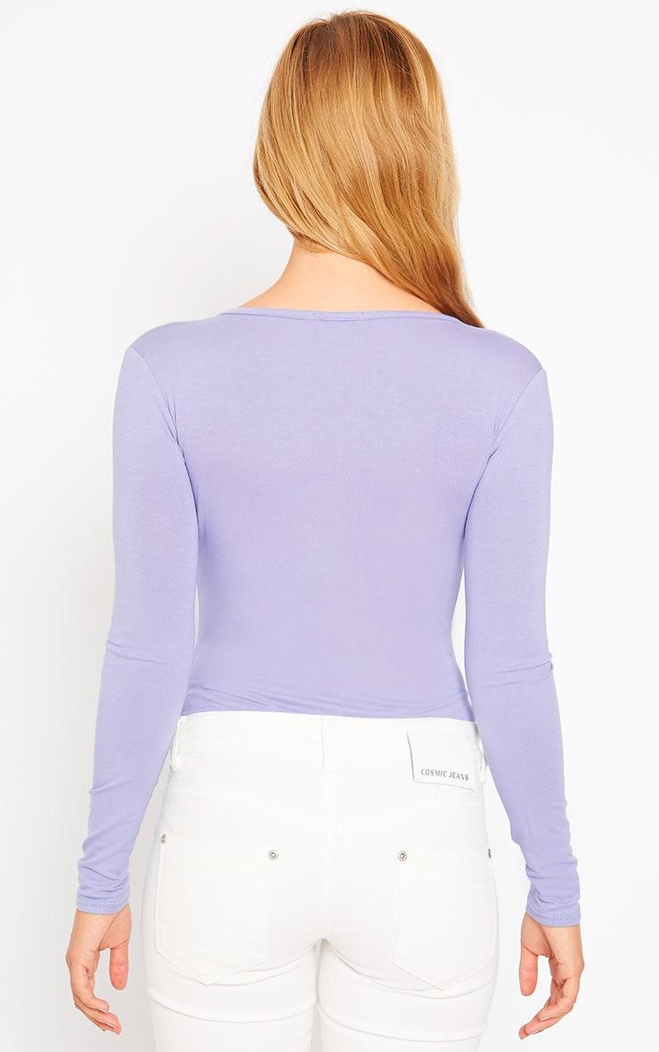 Freida Lilac Wrap Over Plunge Bodysuit 5