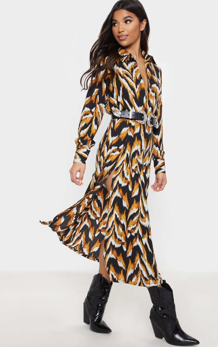 Black Tiger Print Long Sleeve Midi Shirt Dress 4