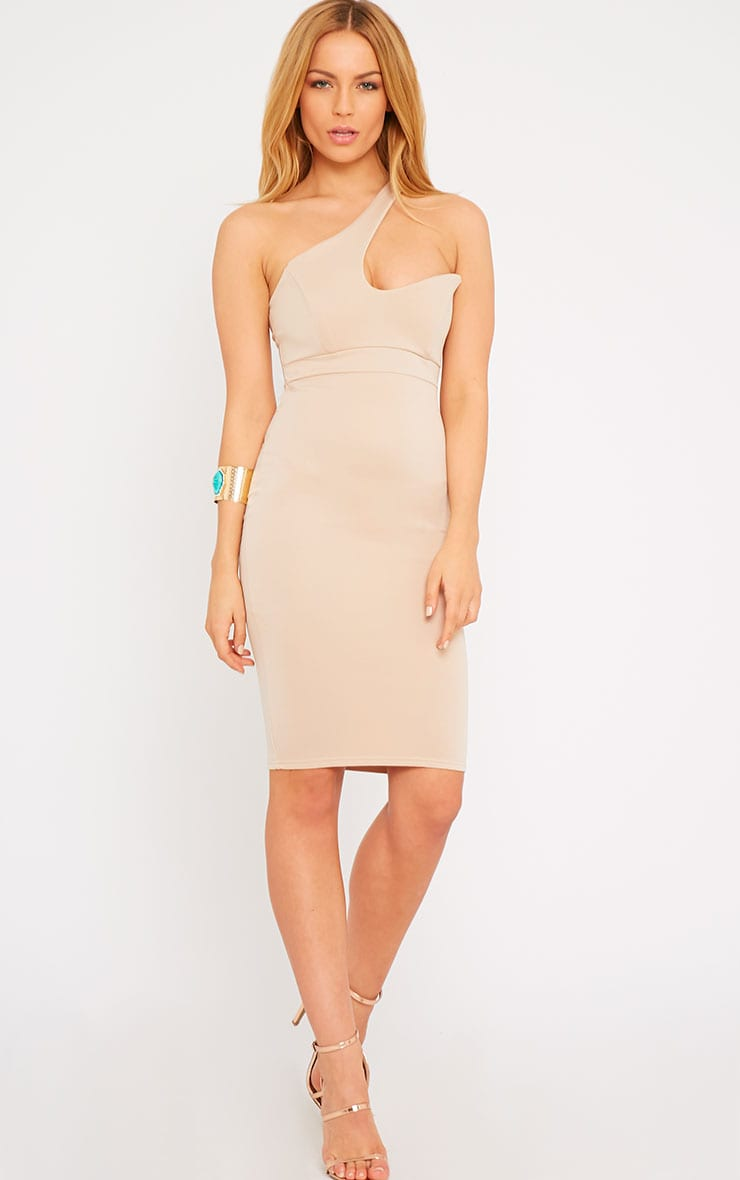 Sonia Camel One Shoulder Midi Dress 1