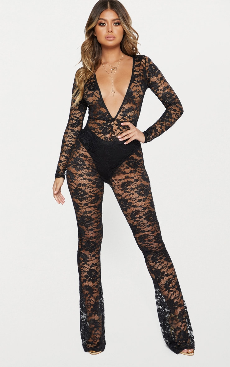 Black Lace Plunge Front Jumpsuit 1