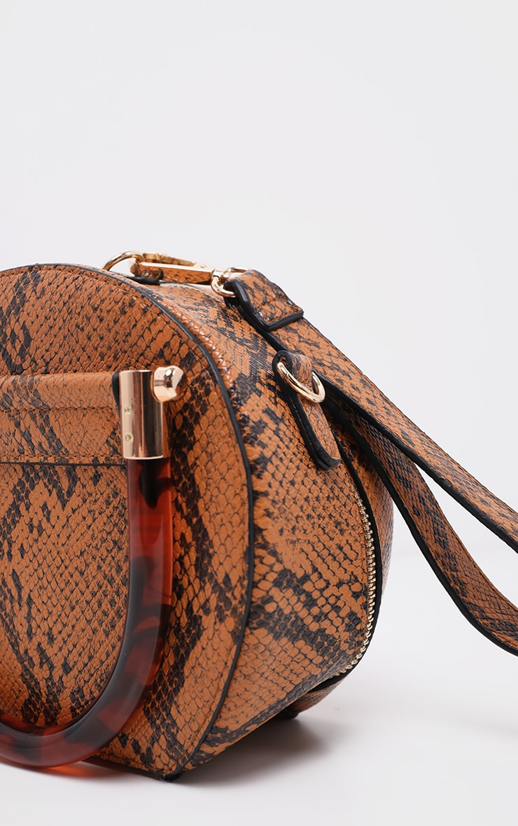 Tan Snakeskin Tortoiseshell Handle Cross Body Bag 4