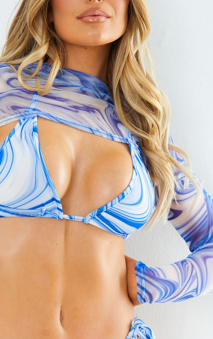 Blue Swirl Mesh Cropped Long Sleeve Beach Top 4