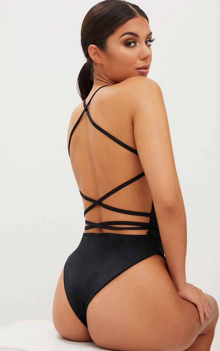 Black High Rise Wrap Around Swimsuit  1