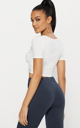 Cream Jersey Ruched Front Crop T Shirt 2