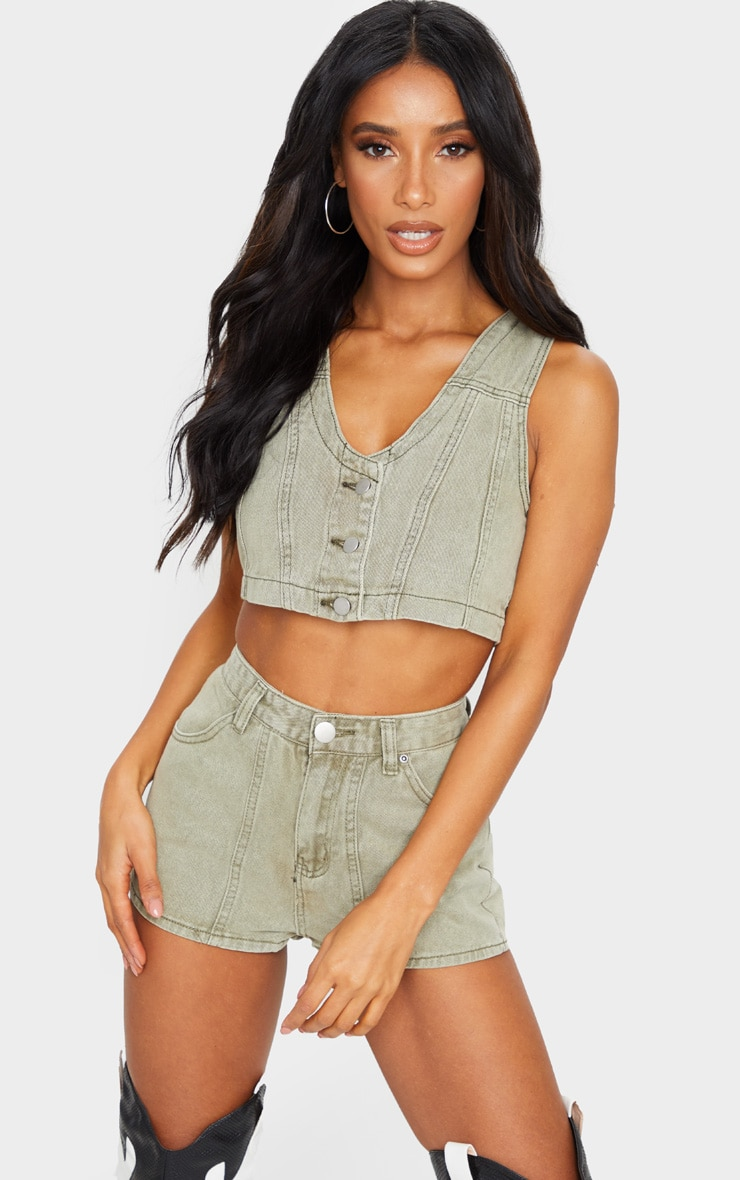 Washed Khaki Button Up Denim Shorts 4
