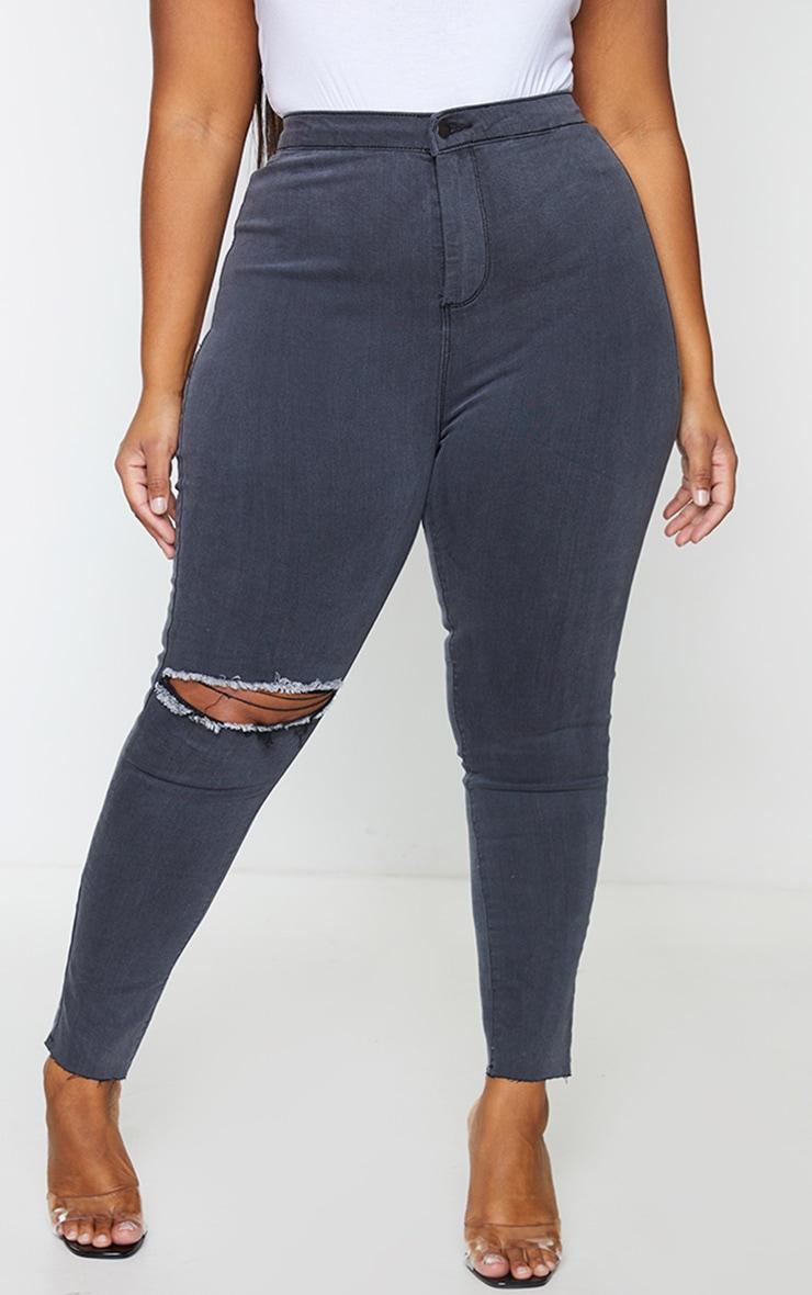 PRETTYLITTLETHING Plus Black Washed Raw Hem Knee Rip Disco Skinny Jeans 2