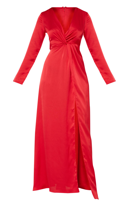 Red Satin Twist Front Maxi Dress  3