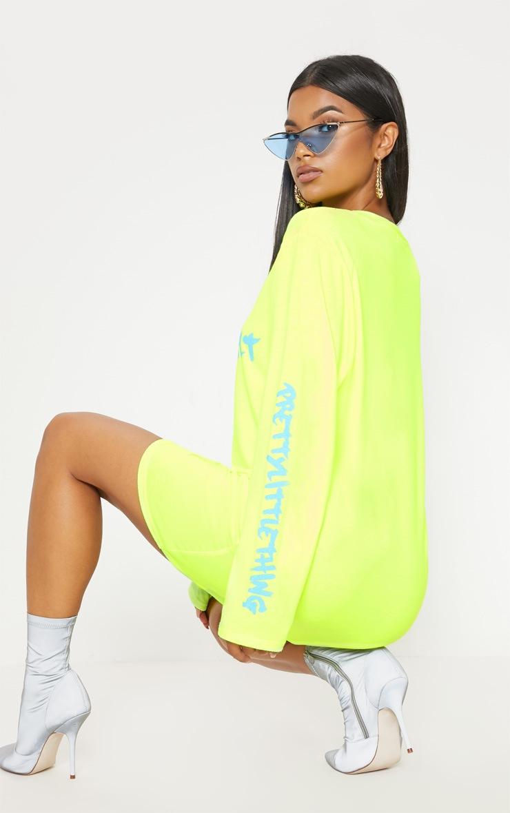 PRETTYLITTLETHING Yellow Slogan Long Sleeve T Shirt Dress 2