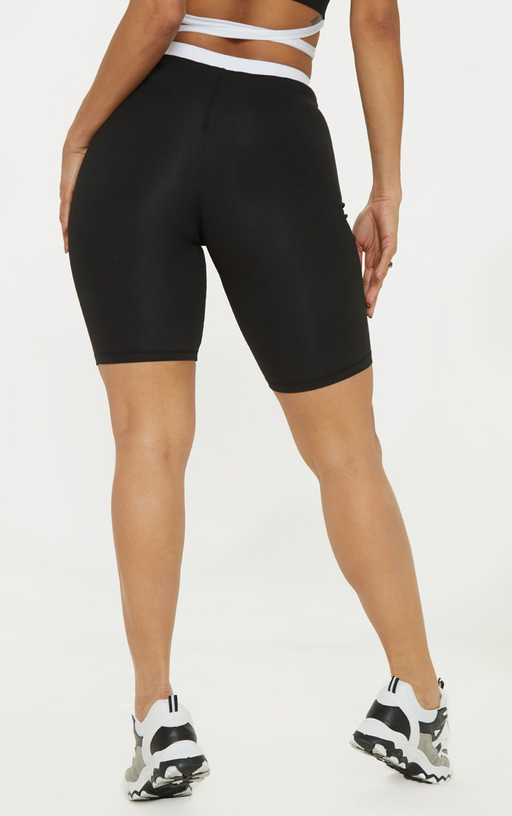 Black Contrast Waist Cycle Short 4