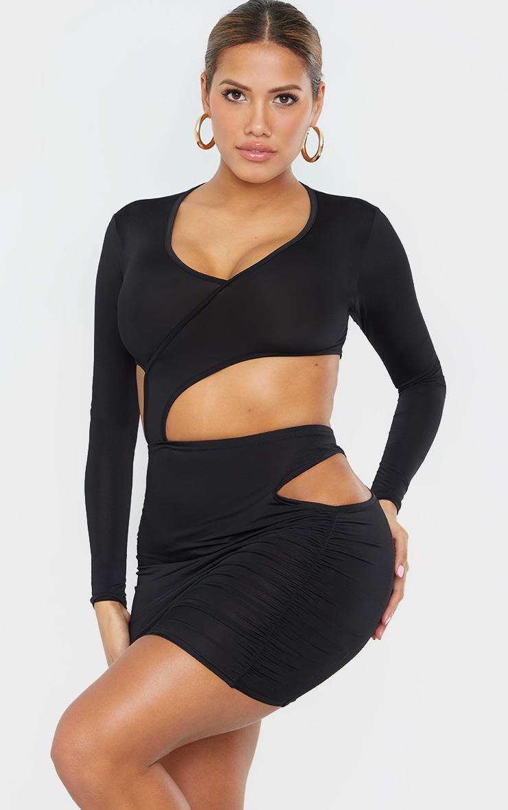 Shape Black Slinky Cut Out Binding Detail Bodycon Dress 1