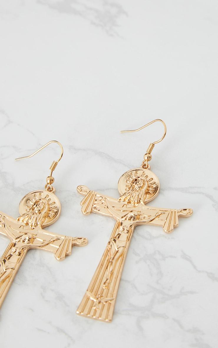 Gold Renaissance Chunky Cross Earrings 4