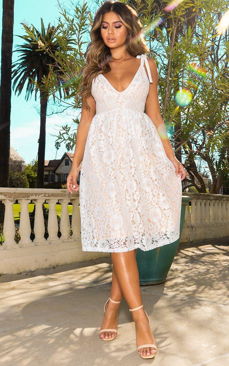 White Lace Strappy Plunge Midi Dress 1