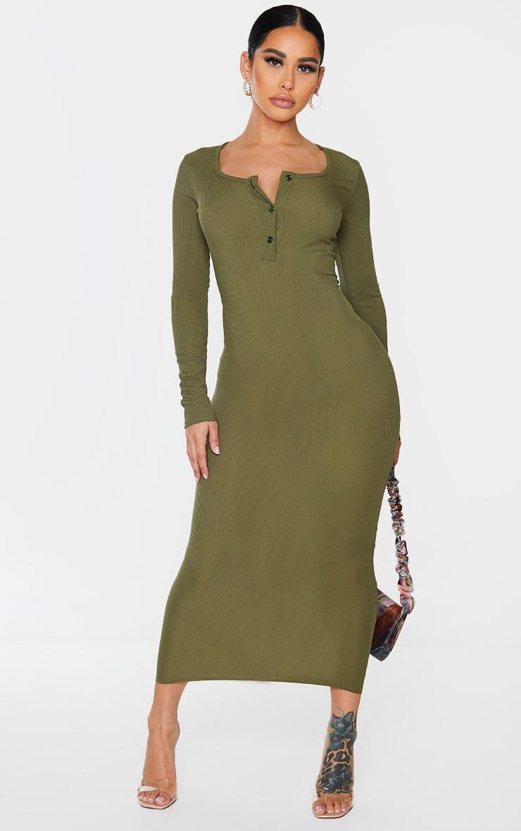 Shape Khaki Ribbed Button Front Long Sleeve Midaxi Dress 1