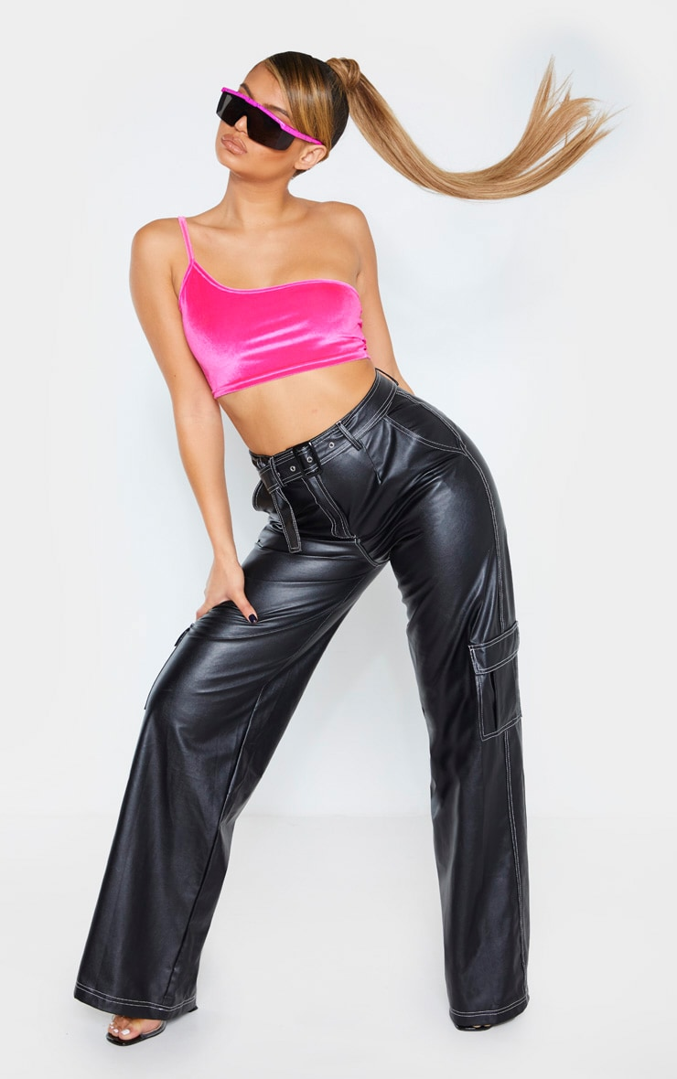 Hot Pink Velvet Strappy Crop Top 5
