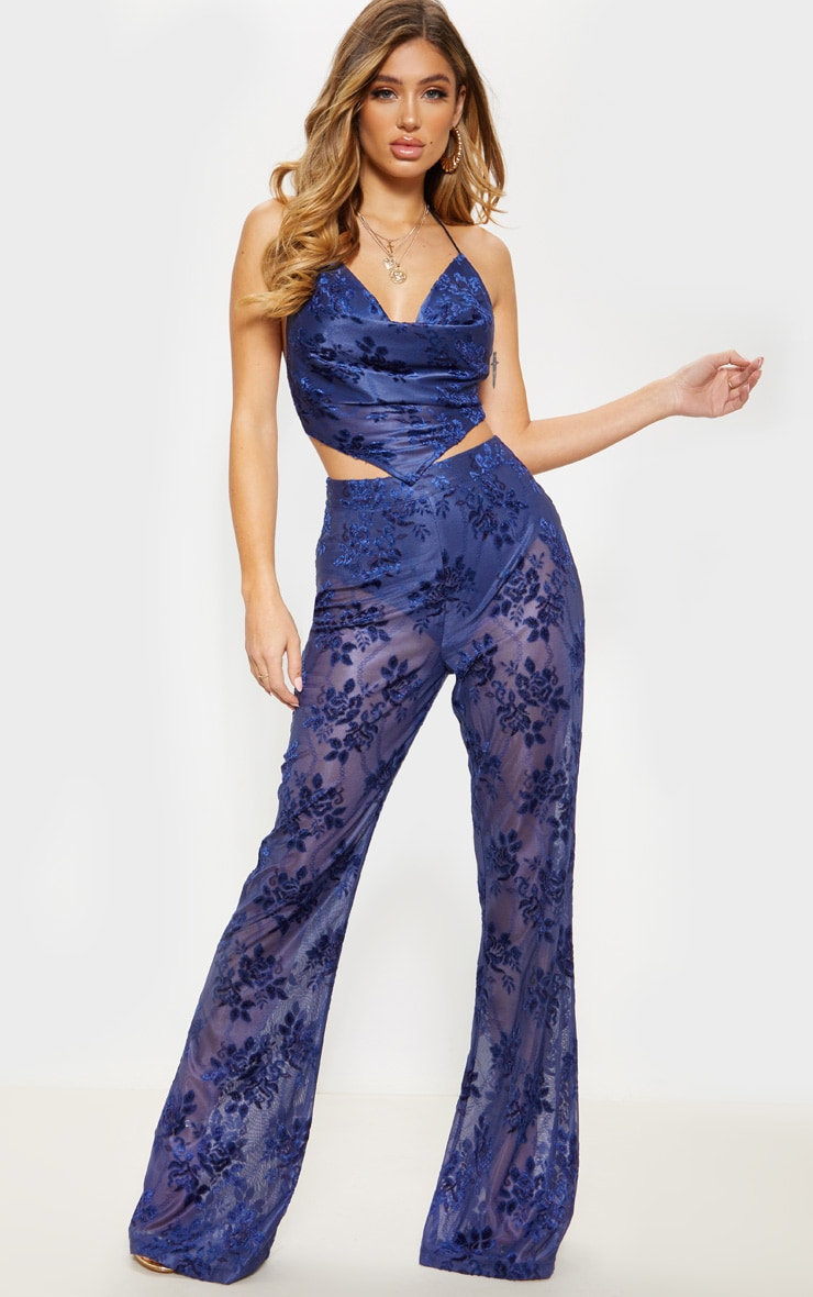 Navy Woven Floral Printed Flare Leg Pants 1
