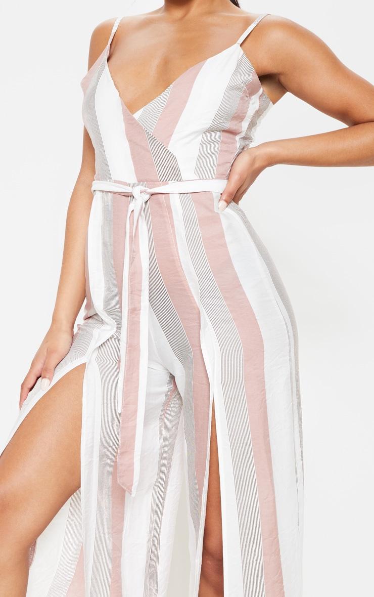 Multi Striped Split Leg Tie Waist Jumpsuit 5
